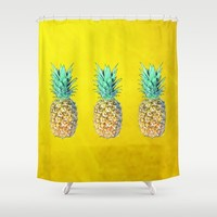 Golden Pineapples Shower Curtain by Yilan