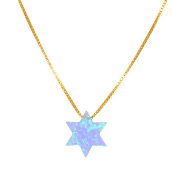 Gold Plated Opal Star of David Necklace 41554