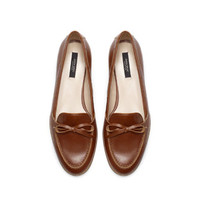 LEATHER MOCCASIN WITH BOW - Shoes - WOMAN | ZARA United States