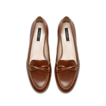 LEATHER MOCCASIN WITH BOW - Shoes - WOMAN   ZARA United States