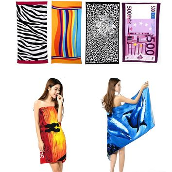 Fashion Colorful Stripe Big 70*140cm Hot Sale Water Absorbent Microfiber Bath Beach Towel Fast Drying