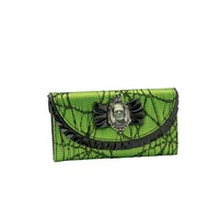 Boris Karloff's face as Frankenstein's Monster in a silver filigree frame on a folded green wallet with embroidered spider web lace outlined with leather like ruffle and bow. Billfold, change pocket, multiple card slots and a clear ID holder included with