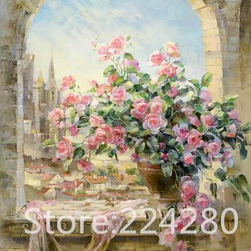Rose Flower window Needlework,scenic embroidery,DIY 14CT Art DMC Cross stitch kits,Pattern counted Cross-Stitching home decor