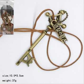 Cool Attack on Titan  Eren password cosplay pendant Necklace no  Anime Rope Chain Necklace White Enamel Game Chaveiro AT_90_11