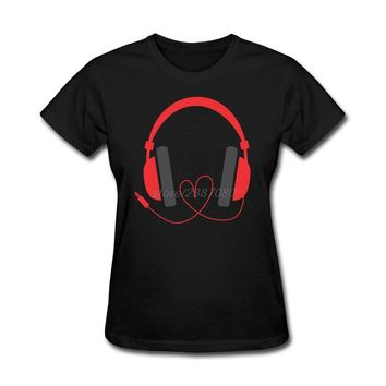 High Quality Love Heart And Music Headphone T Shirts Womens Pre-cotton Funky T Shirts Best Selling O Neck Women T-Shirt