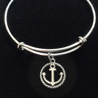 Silver Anchor Charm on an Expandable Adjustable Silver Wire Bangle Bracelet Ocean Jewelry Gift Nautical Trendy Stacking