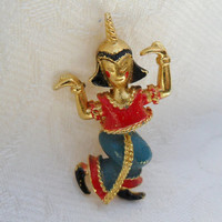 Vintage Siam Thai Dancer Scatter Pin by Mamselle