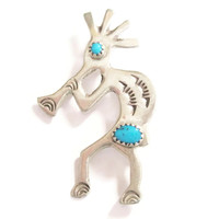 Turquoise Kokopelli Brooch Pin Sterling Fertility