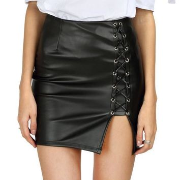 Leather Lace Up Skirt Black
