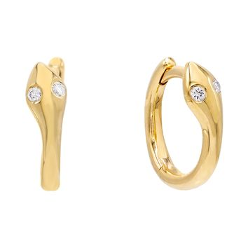 Diamond Eye Snake Huggie Earring 14K
