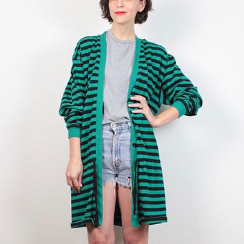 Vintage 1980s Sweatshirt Cardigan Black Green Striped Oversized Duster Jacket Sweater V Neck New Wave 80s Tshirt Jacket M L Extra Large XL