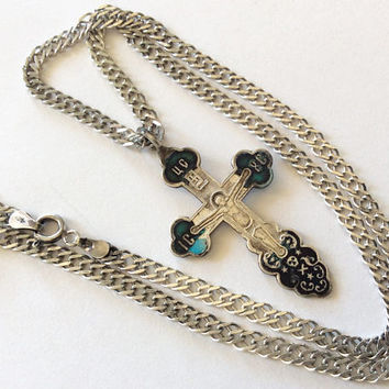 Antique Russian Imperial 84 silver enamel cross and chain silver 925