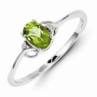 Sterling Silver w/Rhodium Plated Diamond and Peridot Oval Ring