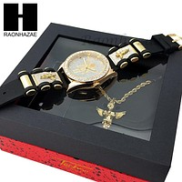 MEN ICED OUT TECHNO PAVE WATCH & ANGEL PENDANT ROPE CHAIN NECKLACE GIFT SET SS76