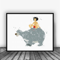 Mowgli and Baloo Art Print Poster