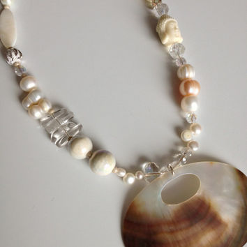 Large Shell Pendant and Asymmetric White Shade Necklace