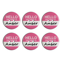 Amber Hello My Name Is Plastic Resin Button Set of 6