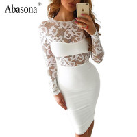 Spring 2017 Fashion Women White Embroideried Lace Sexy Dress Long Sleeve Boho Floral Crochet Black Bodycon Party Dresses