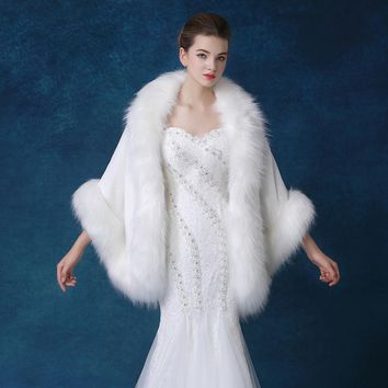 New Faux Fur Bolero Wedding Bridal Accessories white/ivory Shawl Wrap Bridesmaid Shrug