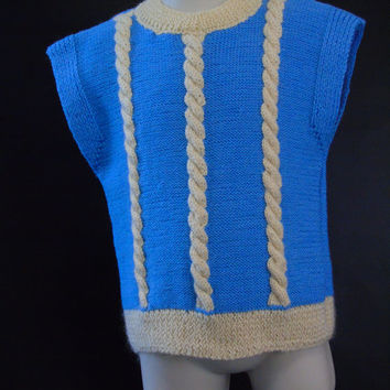 Hand Knit Blue Toddler Sweater Vest  Baby Pullover , Cable Knit Merino Wool , Little Ones Slipover Top