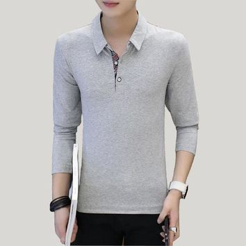 DCCKKFQ male long sleeve polo shirts men causual extended solid shirt camisa polo hombre mens clothes ZT096