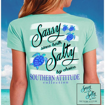5cd280e66c5 Southern Attitude Mint Turtles Sassy Since Birth T-Shirt