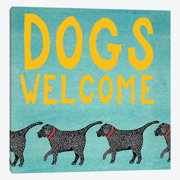 """Dogs Welcome by Stephen Huneck Canvas Print 26"""" L x 26"""" H x 0.75"""" D"""
