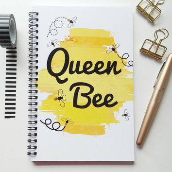 Writing journal, spiral notebook, sketchbook, diary, bullet journal, cute journal, yellow black white, blank lined or grid paper - Queen bee