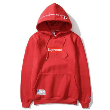 Champion : Supreme : Fashion Drawstring Embroidery Long Sleeve Top Sweater Pullover Hoodie