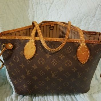 Louis Vuitton Neverfull PM Monogram Purse. Very Used. Bag Tote . Leather cracked