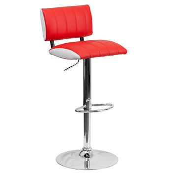 2-Tone Vinyl Adjustable Height Chrome Bace Home Office Barstools With Back 9-Colors #122150 (Red)
