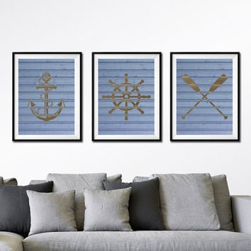 Nautical Art Prints, Oars, Life Saver, Buoy, Anchor, Set of 3 Prints, Faux Wood Art, Nautical Art, Boys Nursery Art, Blue or Gray Print *38*