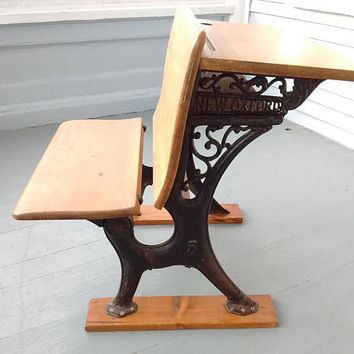 Kids Desk, Kids Bench, Antique, Refinished, New Oxford, Rod Iron and Solid Maple, Desk and Bench Combo, School Desk, RhymeswithDaughter