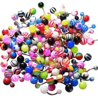 Belly Ring Assorted Lot of 25 Banana Piercing 14G Belly Button Rings Piercing Jewelry No Duplicates