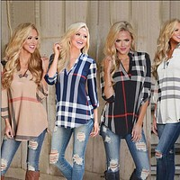 4 Color Fashion Women Autumn print gingham V-neck 7 minutes of sleeve Blouse