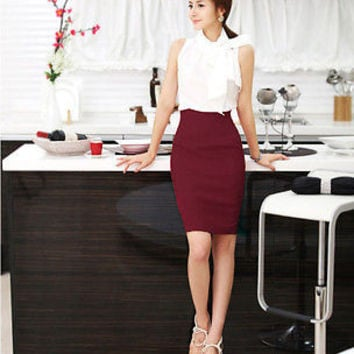 Womens Office High Waist Bust Skirt Bodycon temperate Midi Pencil Skirt