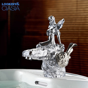 Chrome Finish Bathroom Basin Flower Fairy Faucet Single Handle Hole Vanity Sink Mixer Tap Lc-67D1-X