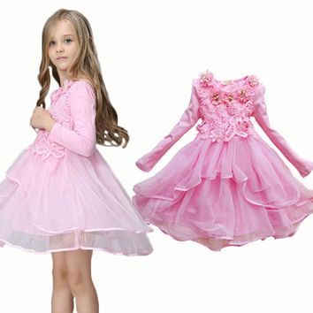 2017 Flower Girl Dress Princess tutu party gift wedding veil flower girl dress children dress pink green macarons candy colors