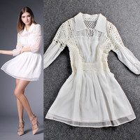 Solid Collar Cardigan Keyhole Cutout Embroidered A-Line Mini Dress