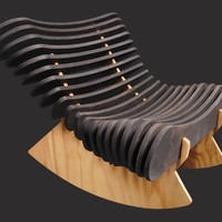 Rib Rocker in Plywood w/ Black Lacquer by Shiner