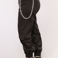 Underneath It All Chain Joggers - Black
