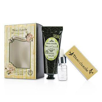 Heathcote & Ivory Beau Jardin Citrus Grove Manicure Coffret: Hand Cream 100ml/3.38oz + Cuticle Oil 10ml/0.33oz + Nail Buffer Ladies Fragrance