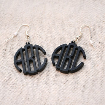 3 Initials Circle Monogram Earrings -  Personalized Monogram Black Acrylic Custom Lasercut