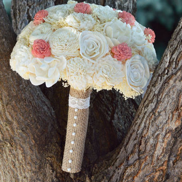 Custom X Large Wedding Bridal Bouquet Sola Flowers with dried Flowers Coral Ivory