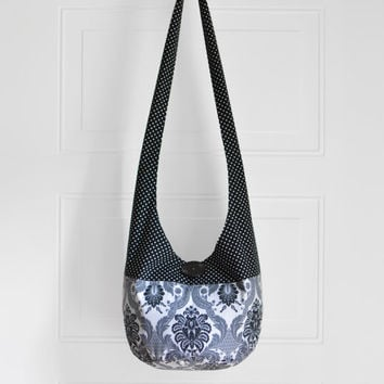 Hobo Bag Hippie Purse Crossbody Bag Sling Bag Hippie Bag Boho Bag Polka Dot Damask Black and White Handmade Purse Bohemian Purse Slouch Bag