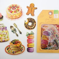 32 LARGE Japanese sweets & treats stickers - French macarons - strawberry cake - doughnuts - cupcakes - pancakes - candy jar - gingerbread