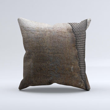 Rustic Peeled Metal Ink-Fuzed Decorative Throw Pillow