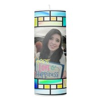 Pillar Candle Stained Glass Look Photo Frame