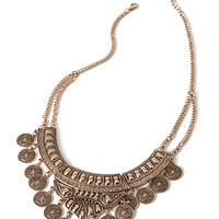 Etched Coin Bib Necklace