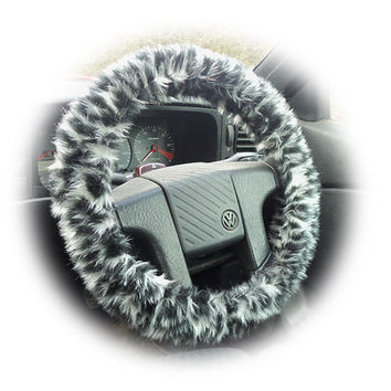 black white grey Snow leopard faux fur furry fluffy fuzzy car Steering wheel cover